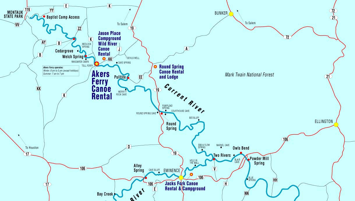 Current River Map Canoe Missouri Current River Jacks Fork River: Float, Camp, Cabins