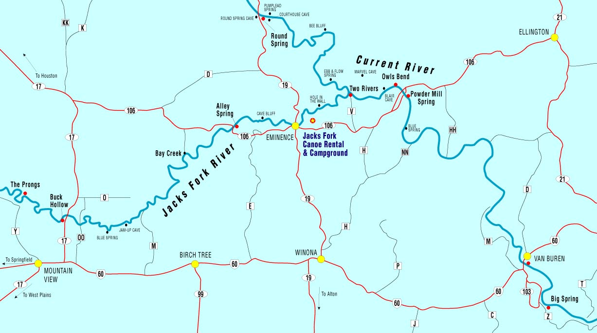 Missouri Map With Rivers.Canoe Missouri Current River Jacks Fork River Float Camp Cabins